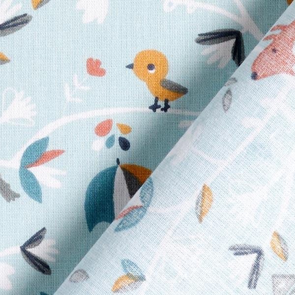 Tissu en coton Cretonne Animaux dans les branches – bleu aqua