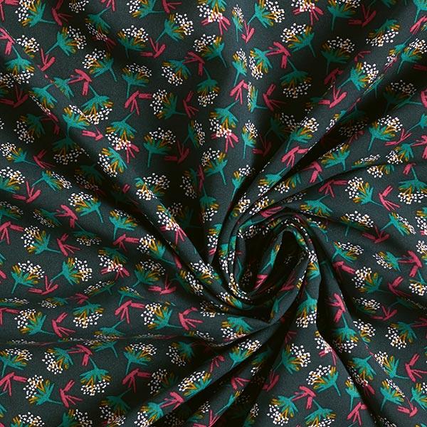 Tissu fin en viscose Midcentury Bouquet – vert foncé