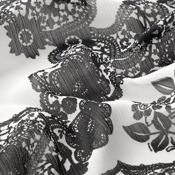 Crêpe chiffon Imprimé fleurs – blanc/noir