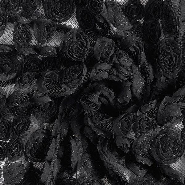 Dentelle de tulle 3D Petites roses – noir