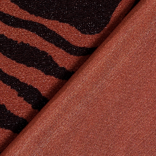 Jersey scintillant Motif zèbre – marron/noir