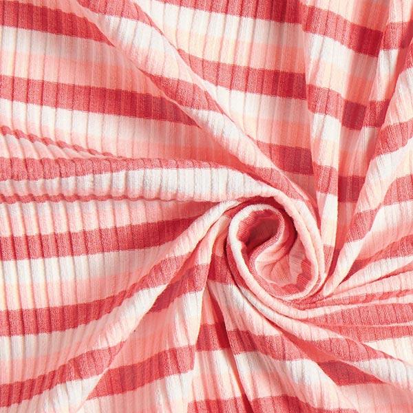 Maille côtelée Rayures horizontales – rose/homard