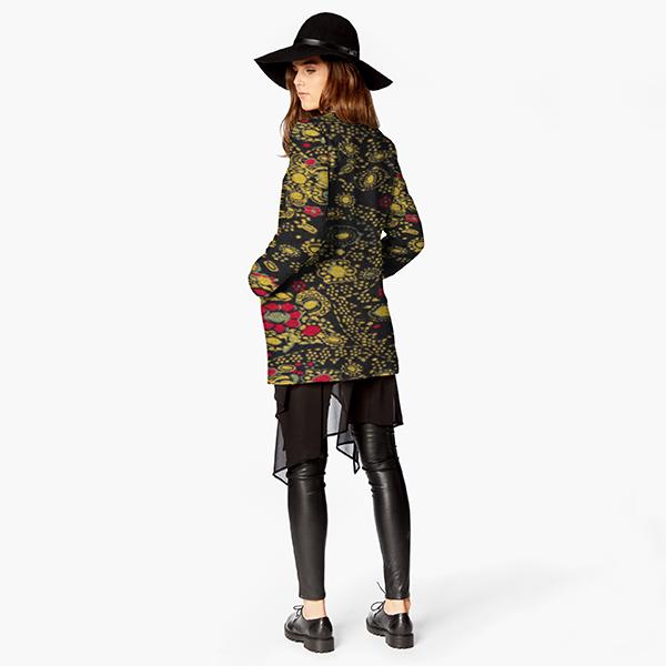 Tissu de manteau Laine Ornements floraux – noir/jaune