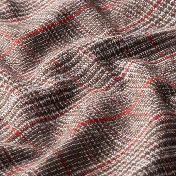 Mélange laine vierge Carreaux glencheck George – chocolat/rouge