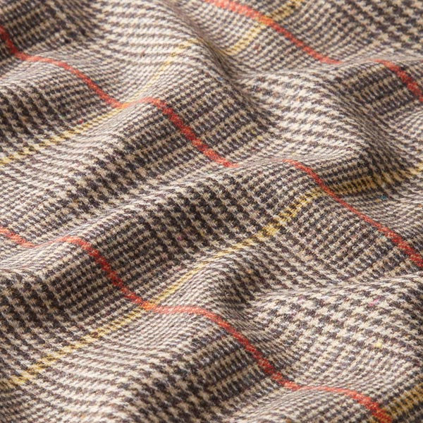Mélange laine vierge Carreaux glencheck Arthur – beige/rouge