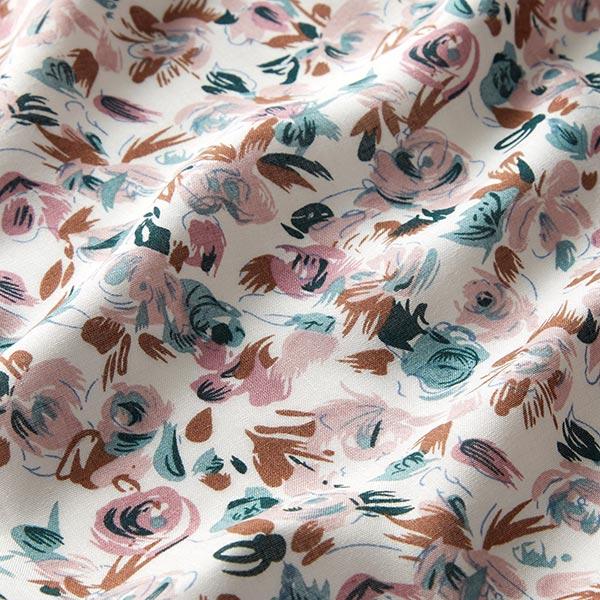 Tissu pour chemisier viscose roses et tulipes – blanc
