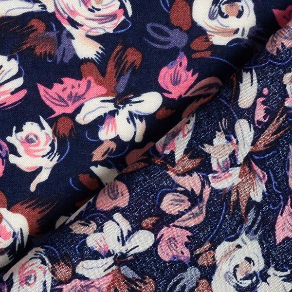 Tissu pour chemisier viscose roses et tulipes – bleu marine