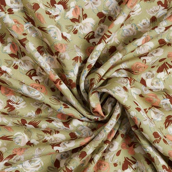 Tissu pour chemisier viscose roses et tulipes – vert pastel