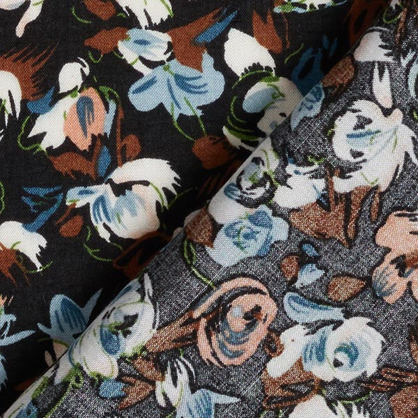 Tissu pour chemisier viscose roses et tulipes – noir