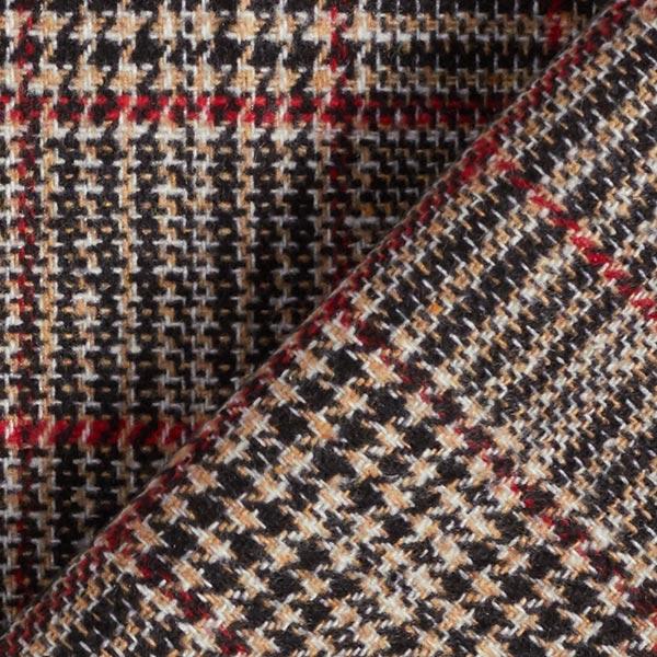 Tissu pour pantalon et costume Mélange laine Prince-de-galles – jaune ocre/rouge