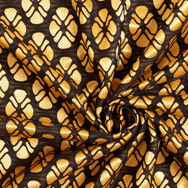 Dentelle satin Ornement floral avec points dorés – or