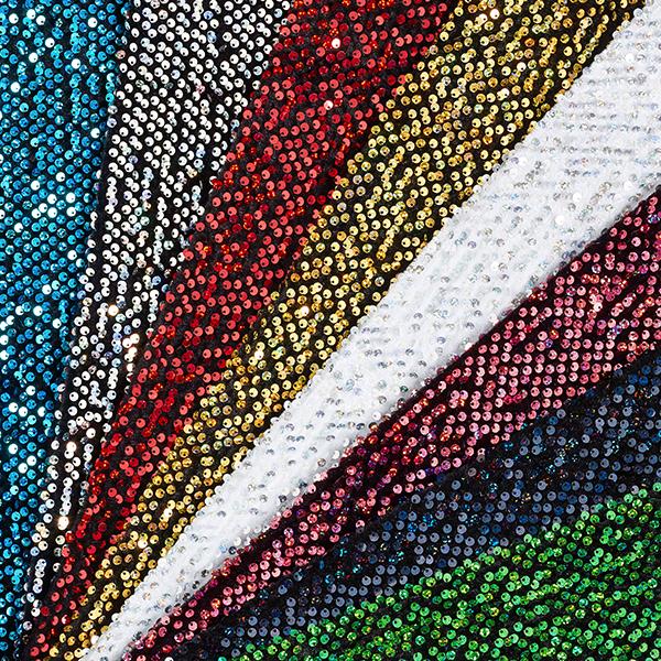 Tissu à paillettes Panne de velours – blanc