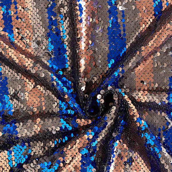 Tissu à paillettes Paillettes réversibles – bleu roi/bronze
