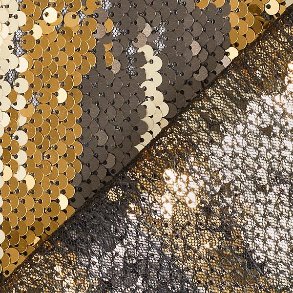 Tissu à paillettes Paillettes réversibles – or/bronze