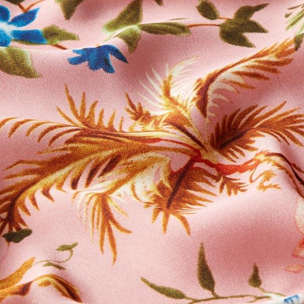 Stretch Satin Crêpe Tropische Blumen – rosa