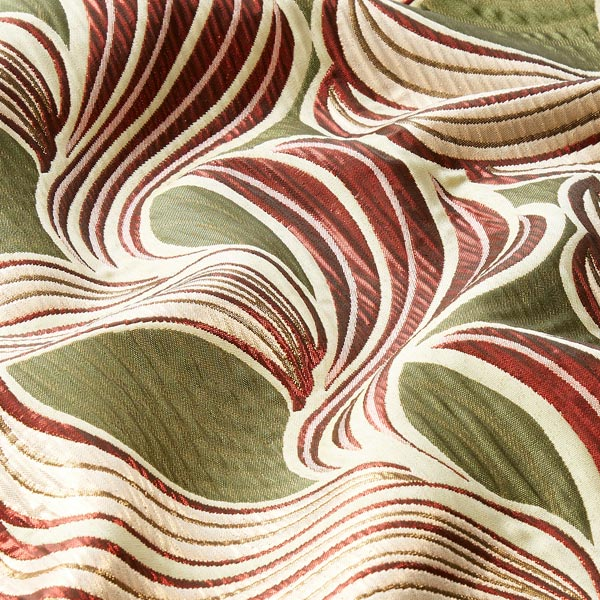 Tissu carnaval Brocart Feuilles – vert/rouge