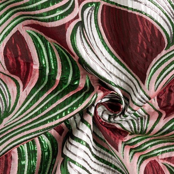 Tissu carnaval Brocart Feuilles – rouge bordeaux/argent