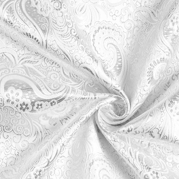 Tissu carnaval Brocart Motif Paisley – argent