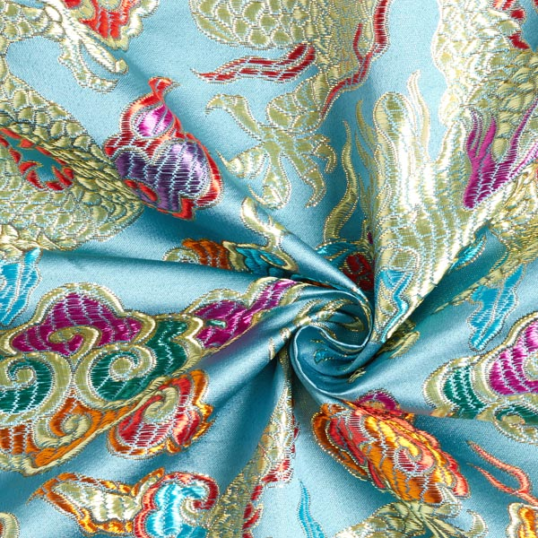 Tissu carnaval Brocart Dragon chinois – gris bleu