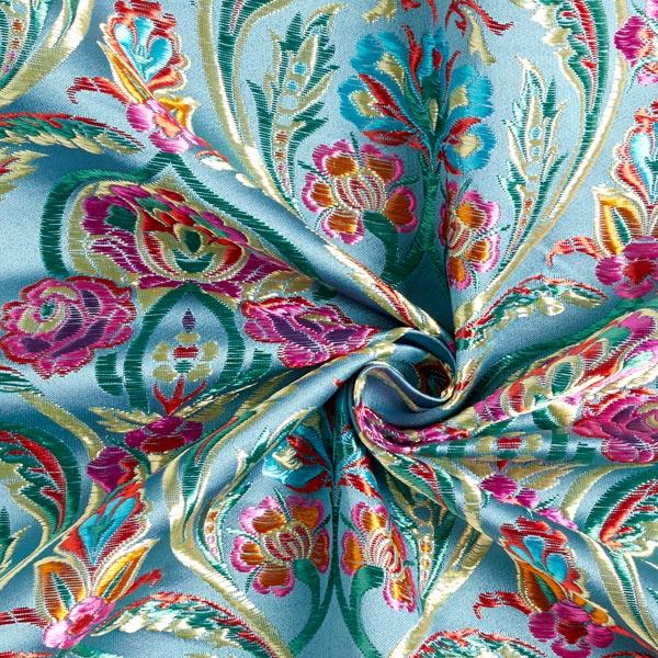 Tissu carnaval Brocart Folklore floral – gris bleu