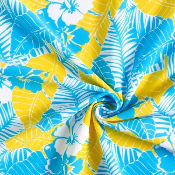 Tissus pour maillot de bain Lycra Tropikana – turquoise/jaune fluo