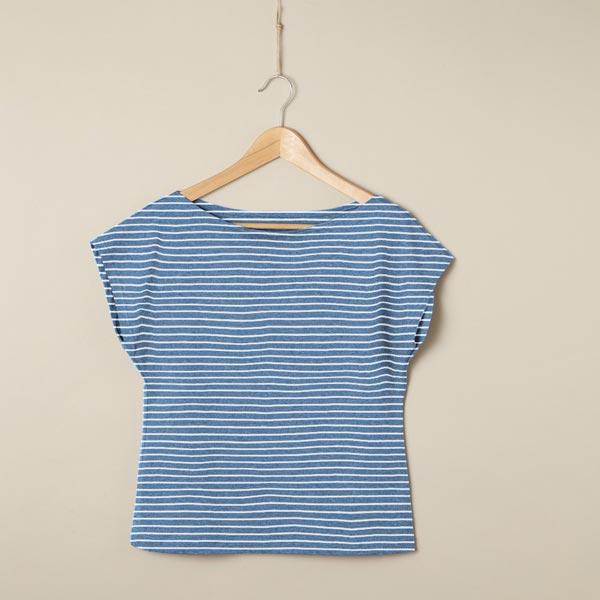 Jersey coton Interlock Rayures Chiné – bleu jean