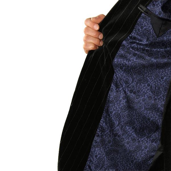 Tissu de doublure jacquard Paisley – bleu marine