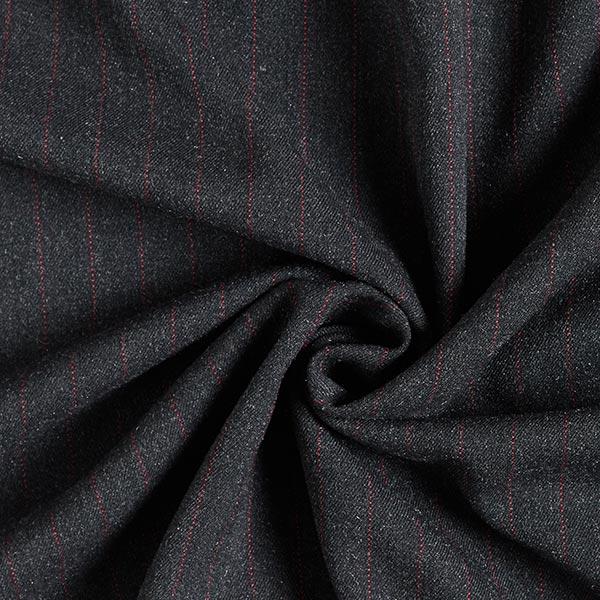 Tissu de costume fil-à-fil, mélange laine, 15 mm – anthracite/rouge