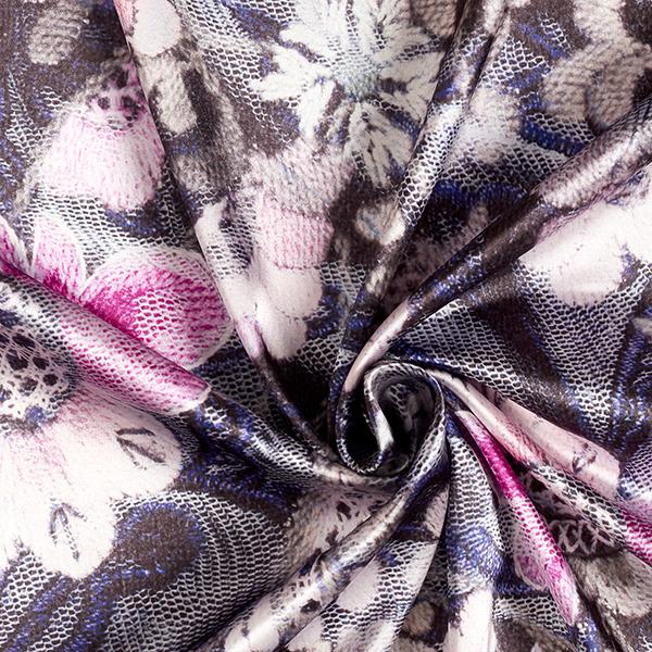 Satin stretch Motif floral – rose vif