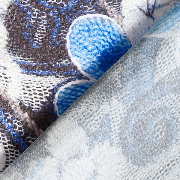 Satin stretch Motif floral – bleu