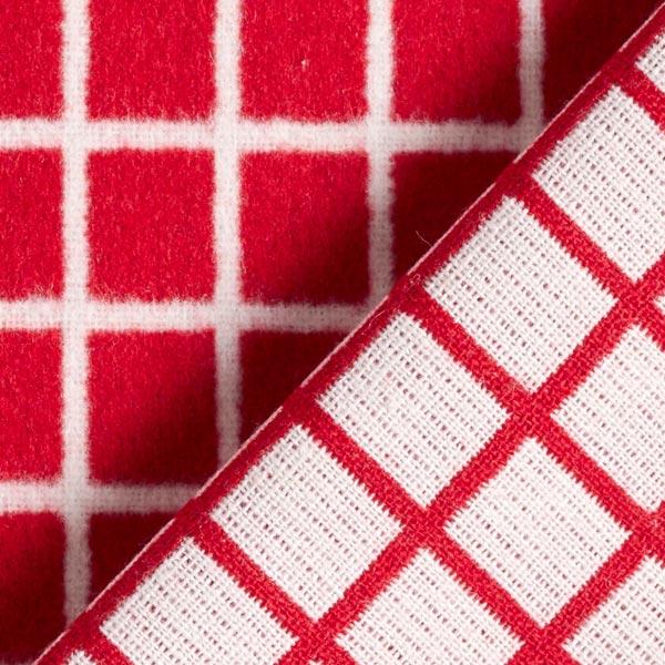 Tissu de manteau Mélange laine gratté Motif quadrillage – rouge/blanc