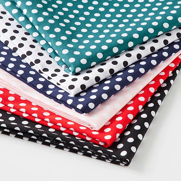 Tissu en coton Popeline à pois – blanc/noir