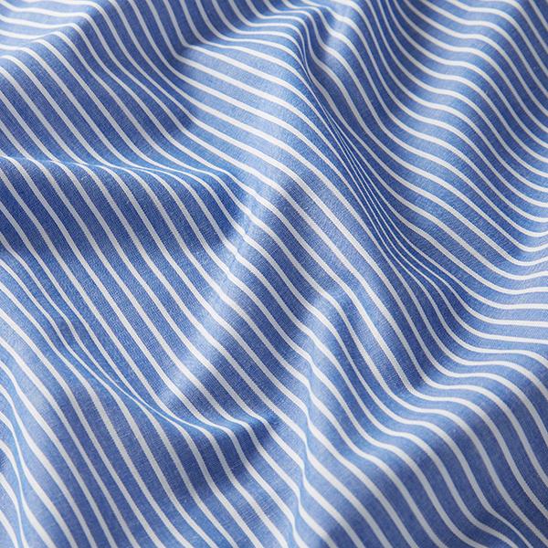 Tissus polaires Tissu de coton mélangé rayé – bleu jean/blanc
