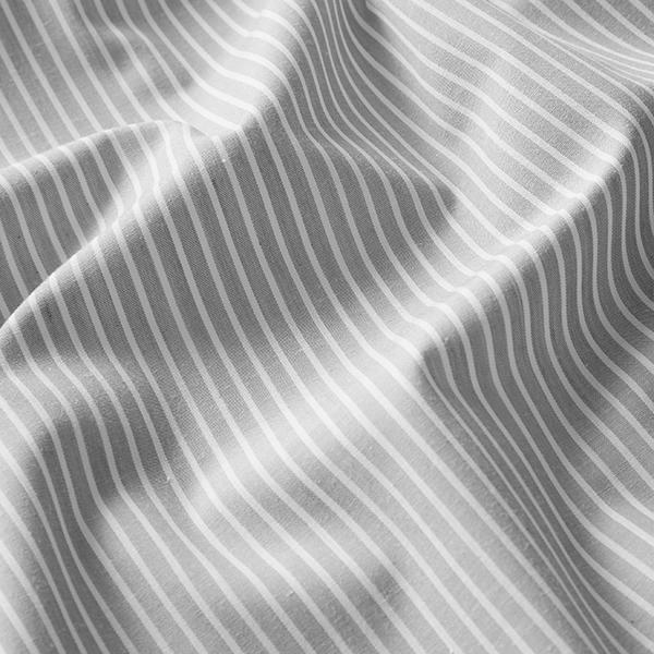 Tissus polaires Tissu de coton mélangé rayé – gris clair/blanc