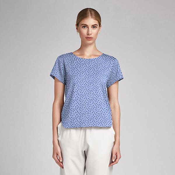 Popeline fine Tissu de coton mélangé Paisley & Points – bleu jean