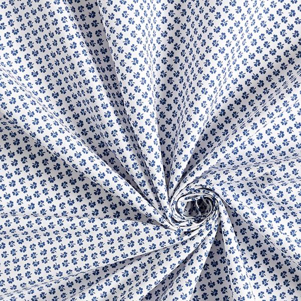 Popeline fine Tissu de coton mélangé Trèfles – bleu jean/blanc
