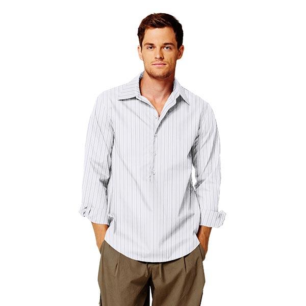 Tissu classique pour chemise Rayures – blanc/bleu clair