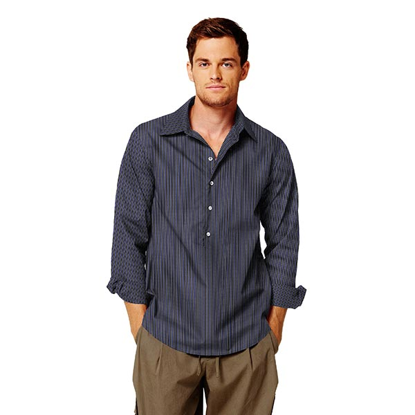 Tissu pour chemise rayé – noir/bleu
