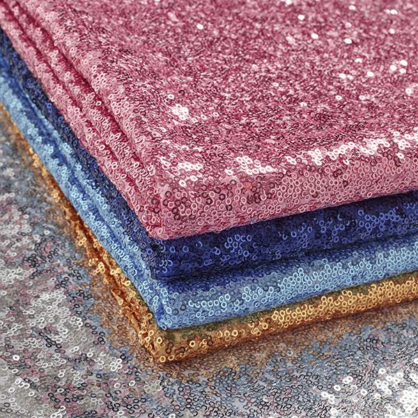 Satin Tissu à paillettes – bleu clair