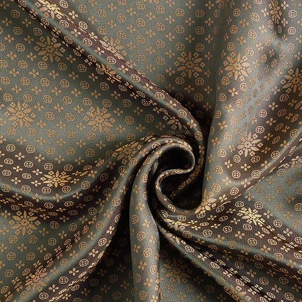 Tissu de doublure Jacquard Ornement floral – beige foncé/noir