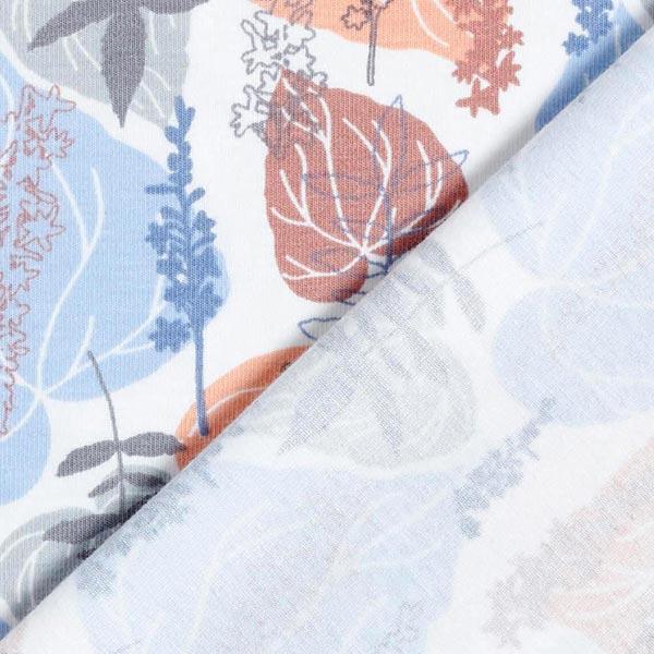 Jersey coton Feuilles pastel – saumon/bleu clair