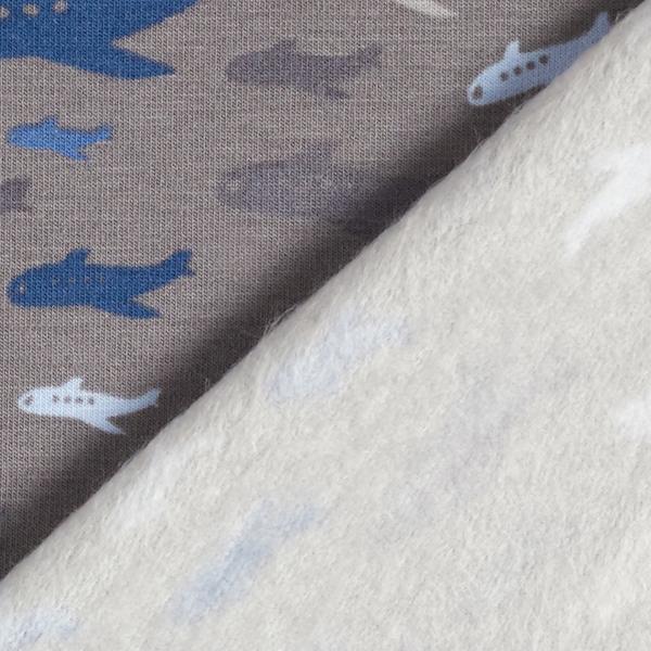 Tissu sweatshirt gratté Avions – gris
