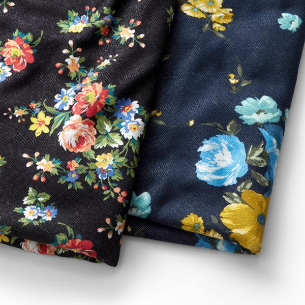 Sweat douillet Aspect denim Grandes fleurs – bleu marine/anthracite