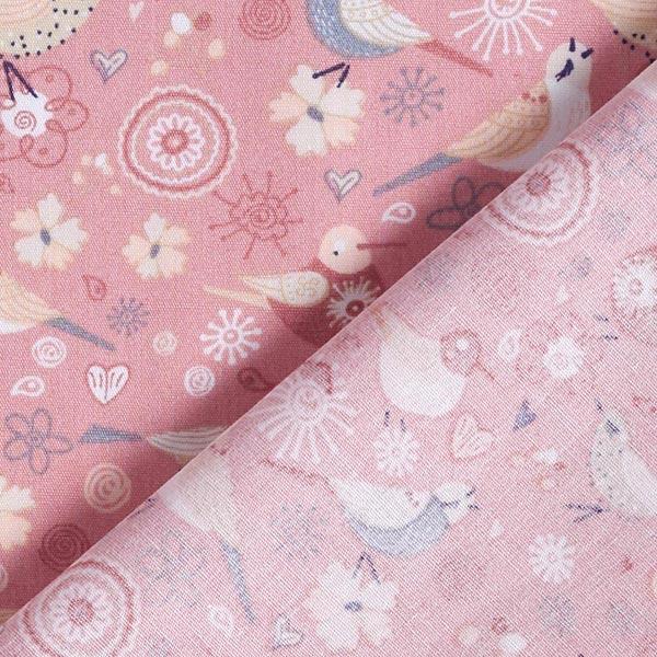 Popeline coton Oiseaux fleurs – vieux rose
