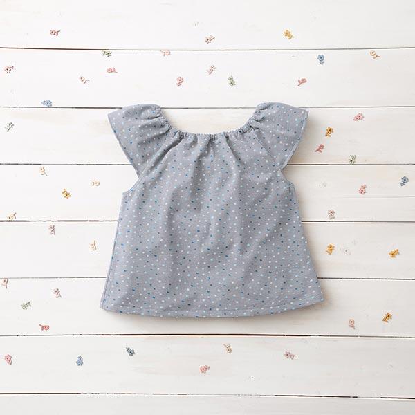 Jersey coton Points aquarelle – gris clair/bleu acier