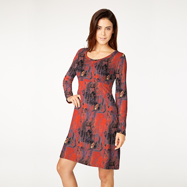 Jersey coton Motif batik – rouge clair