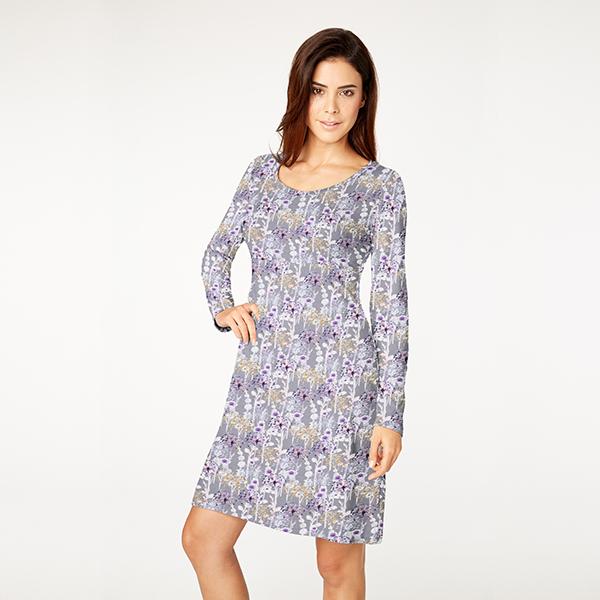 Jersey coton Fleurs de pissenlit aspect batik – gris foncé
