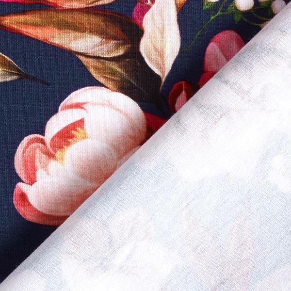 Jersey coton Bouquet de fleurs avec baies – bleu marine