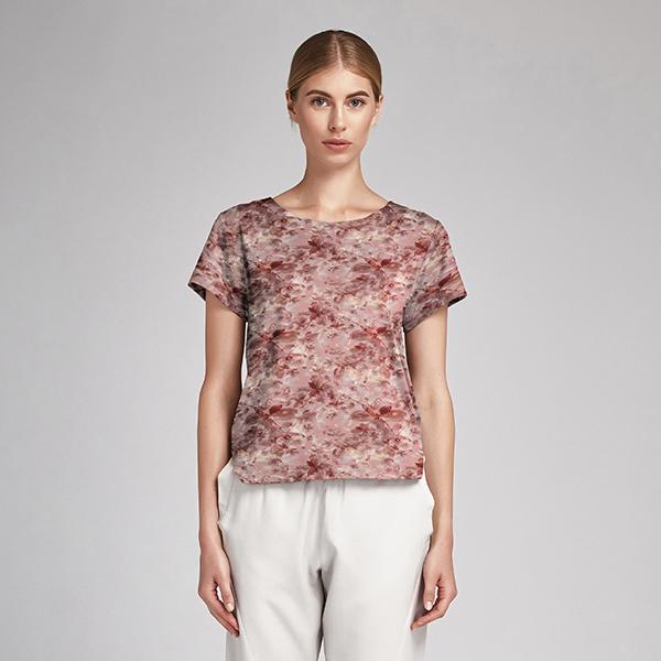 Jersey coton Fleurs aquarelles – vieux rose