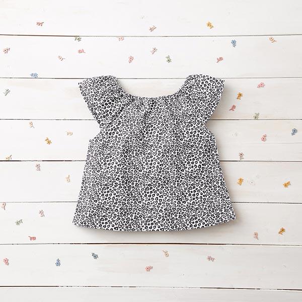 Jersey coton Cœurs léopard – blanc/anthracite